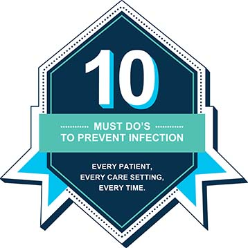 10 must dos to prevent infection every patient, every care setting, every timebadge