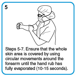 Steps 5-7. Ensure that the whole skin area is covered by using circular movements around the forearm until the hand rub has fully evaporated (10-15 seconds).