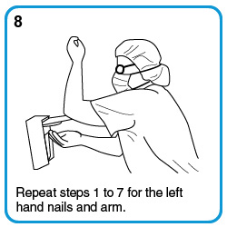 Repeat steps 1 to 7 for the left hand nails and arm.