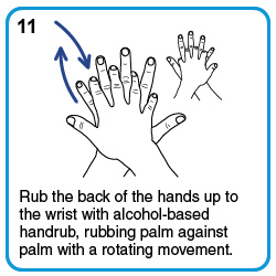 Rub the back of the hands up to the wrist with alcohol-based handrub, rubbing palm against palm with a rotating movement.